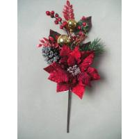 Buy Red Silk Hawthorn Artificial Decorative Flower Bouquets with Golden Balls at wholesale prices