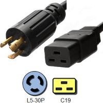 Quality Black 3 Conductor IEC C19 Power Cord NEMA L5 - 30P Locking Plug for sale