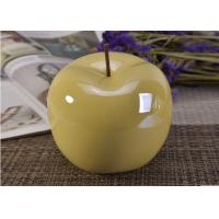 Buy Decorative Ceramic Wedding Table Centerpieces Yellow Glazed Apple Shaped at wholesale prices