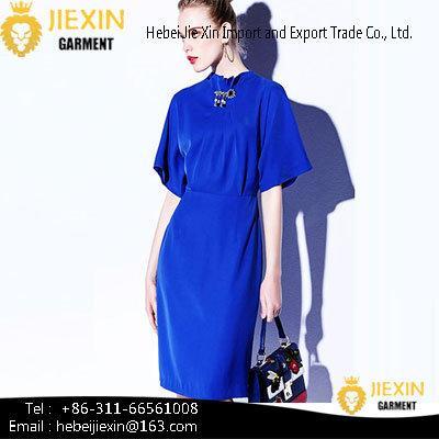 Fashion Different Designs Long Sleeve Nylon Plain Navy Blue Tunic Casual Dresses image