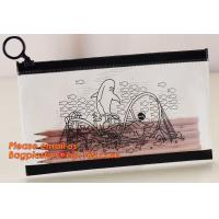 Quality A4 clear plastic pp document carrying file folder zipper lock pocket bag with small button file wallet for sale