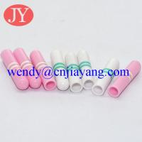 Buy cheap Custom color and Rolling pring logo custom logo plastic aglet for garment hoodies cord from wholesalers