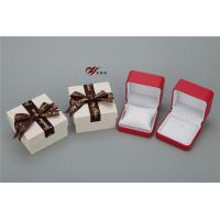 Quality Red PU Leather Bangle Box With White Pillow And Bowknot Outer Box for sale