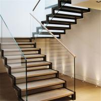 Quality Staircase steel grill design with side mount glass balustrade for sale
