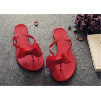 Quality Plastic Upper Fashion Flip Flops With Bowknot Flat Heel Ladies Thong Slippers for sale
