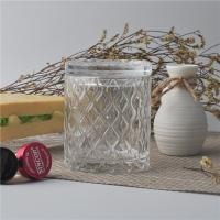 Quality Creative decorative glass candle holders with lid set , pattern design for sale