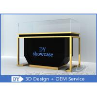 Quality Matte Black Wood Stain Steel Jewellery Counter Display With Lights for sale