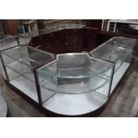Quality Crystal Tempered Glass Jewelry Kiosk Furniture Full View Round Shape With Lights for sale