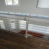 Quality Outdoor metal railing systems with oak wooden handrail design for sale