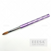 Quality Luxury Shining Engrave Wave Purple Aluminum Handle Kolinsky Acrylic Nail Brush for sale
