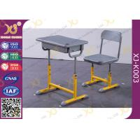 Quality Height Adjustable Single Student Desk And Chair Set Free Standing for sale