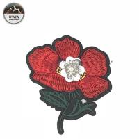 Red / Green Iron On Embroidered Flower Patches 8.5 * 9CM Size For Work Blouse