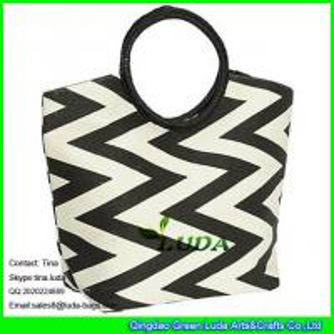 China LUDA women's straw handbag casual paper straw travel shoulder bag on sale
