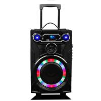 Buy Led Lights Wooden Portable Wireless PA System With Trolley / Bluetooth Function at wholesale prices