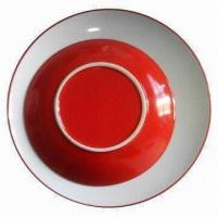 Quality Stoneware Plate in Red, Passed Lead and Cadmium FDA, CA65, CPSIA, 84/500/EEC and LFGB Certificate for sale
