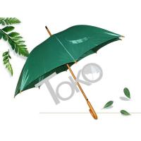 Quality Solid Stick Wooden Handle Umbrella , Plaid Green Umbrella With Wooden Handle for sale