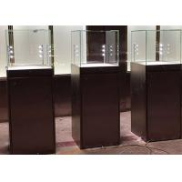 Quality Simple Modern Matte Black Painting Glass Display Case Plinth Size 450X450X1350MM for sale