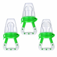 Quality Baby Fresh Food Feeder 3 Pcs Fruit Silicone Nipple Teething Toy Reusable Aching Gums Pacifier Green for sale