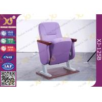 Quality Purple Folding Church Hall Chairs With Fabric Covers / Auditorium Seating for sale
