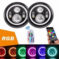 Quality Diecast Aluminum 40W Jeep Wrangler Headlights With RGB Bluetooth Controller for sale