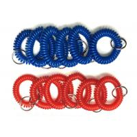 Quality Plastic Wrist Key Chain Coils Popular Blue / Red Promotional Safe Holders / Strings for sale
