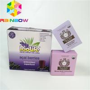 Purple flat recyclable wax coating paper kraft corrugated paper box flute cardboard mailer box food grade coffee tea pac