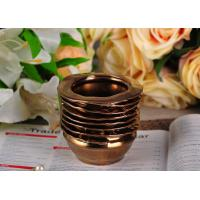 Quality 218ml Copper Electroplated Ceramic Candle Jars , bathroom candle holders Copper Glazed for sale