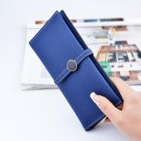 Quality Belt Buckle Ladies Long Type Leather Clutch Wallet With Thin Body Simple Design for sale