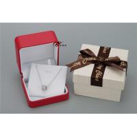 Quality Sweet Red PU Leather Women'S Jewelry Box With Bowknot Flower Cardboard Outer Box for sale