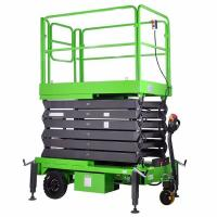 China Electric Aerial Work Platform 9m Red Self Propelled Scissor Lift Table on sale