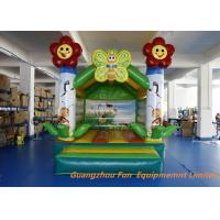 Quality Green Flower Theme Inflatable Air Bouncer , Kids Party Jumping Castle Rental for sale