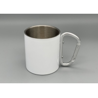 Quality Stainless Steel Portable 300ml Capacity Custom Camping Mugs With Carabiner Handle for sale