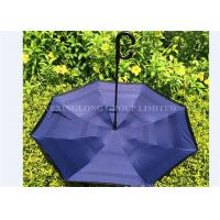 Quality 190T Pongee Fabric C Hook Reverse Folding Umbrella Black Outside And Custom Inside for sale