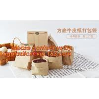 China Custom design printed Kraft bread packaging paper bag,wax grease proof square bottom packing french bread white craft pa on sale