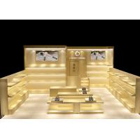 Buy Luxury Smooth Surface Shoe Display Cabinet Customized With Lighting Logo at wholesale prices