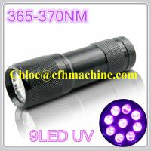 China 9 LED UV Flashlight 365nm-370nm UltraViolet Blacklight 365nm high power uv led Pet Urine on sale