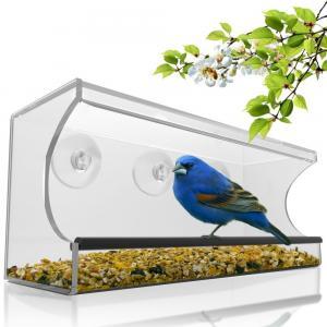 Quality Birdscapes window bird feeder House shaped clear acrylic bird feeder for sale