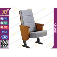 Quality Heavy Duty Foldable Tablet Library Auditorium Chairs With Wooden Arm Surface Finish for sale