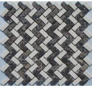 China Brown Marble Mosaic,Herribone Mosaice,Hexagon Mosaic,Basket Wave Design Mosaic on sale