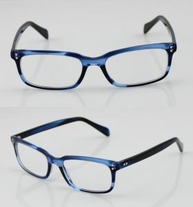 Quality Fashion Acetate Mens Eyeglasses Frames, Blue Handmade Acetate Eyewear Frames for sale