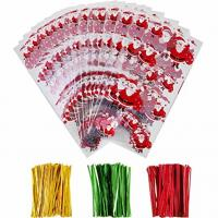 OPP Christmas Cellophane Treat Bags/ Candy Cookie Packaging Bags with Twist Ties for sale