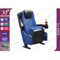 Quality Blue Fabric Folding VIP Cinema Seating , Plastic Theater Seats for sale