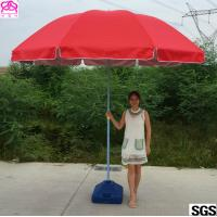Quality Red / Blue Waterproof Parasol Umbrella With Powder Coated Rib for sale
