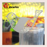 China Lace bird on wine glass place cards , Laser Ivory Printable Place Cards on sale