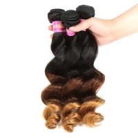 Buy Peruvian Hair Loose Wave 3 Tone Ombre Hair Weave , 1B/4/27 Ombre Blonde Hair at wholesale prices