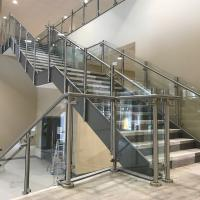 Quality Decking / balcony glass balustrade with mirror finish steel posts for sale