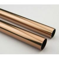 Quality Golden Round Anodized Aluminum Tube , Dark Bronze Anodized Aluminum Finished Tubing for sale