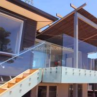 Quality Frosted Glass Privacy Screens / Frameless Glass Railing with Standoffs for sale