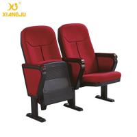 Quality Cold molded foam 560mm Fabric Folding Auditorium Chairs with Writing Table / PP Sheel Pan for sale