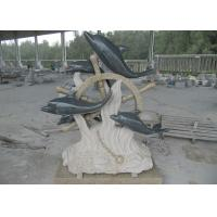 Quality Beautiful Stone Garden Sculptures Granite Dolphin Outdoor Statues 1.5 Meter Height for sale